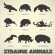 conjunto de vectores: siluetas de animales extrañas pares e impares — Vector de stock  #23145624