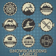 Stock Vector: Vector Set: Vintage Snowboarding Labels and Icons