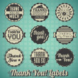 Stock Vector: Vector Set: Vintage Thank You Labels and Icons