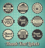 Vector Set: Vintage Thank You Labels and Icons — Stock Vector