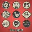 Vector Set: Vintage Dice and Craps Labels and Icons - Stock Vector