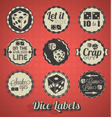 Vector Set: Vintage Dice and Craps Labels and Icons — Stock Vector