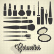 Vector Set: Vintage Cosmetics Silhouettes — Stock Vector #23636507