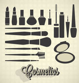 Vector Set: Vintage Cosmetics Silhouettes — Stock Vector