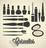 Vector Set: Vintage Cosmetics Silhouettes — Stock Vector