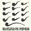 Постер, плакат: Vector Set: Retro Smoking Pipes