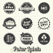 Stock Vector: Vector Set: Vintage Poker Labels