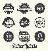 Vector Set: Vintage Poker Labels — Stock Vector