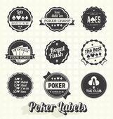 Vector Set: Vintage Poker Labels — Stock Vector