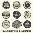 Stock Vector: Vector Set: Vintage Barbecue Labels and Icons