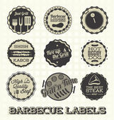 Vector Set: Vintage Barbecue Labels and Icons — Stock Vector