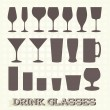 Vector Set: Drink Glass Silhouettes — Stock Vector