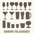 Stock Vector: Vector Set: Drink Glass Silhouettes