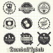 Vector Set: Retro Baseball League Champion Labels - Stok Vektör