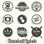 Vector Set: Retro Baseball League Champion Labels — Stock Vector