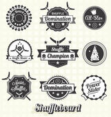 Vector Set: Vintage Shuffleboard Labels and Icons — Stock Vector