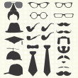 Vector Set: Mustaches and other Fashion Elements — Stock Vector