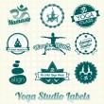 conjunto de vetores: rótulos de estúdio de ioga e ícones — Vetorial Stock