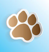 Pet Dog Paw Print Sticker Peeling — Stock Vector