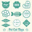 Stock Vector: Vector Set: Pet Cat Name Tag Labels and Icons