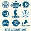 Stock Vector: Vector Set: It's Baby Boy Labels and Icons