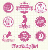 Vector Set: Retro It's A Baby Girl Labels and Icons — Stockvektor