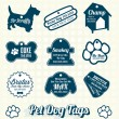 Stock Vector: Vector Set: Pet Dog Name Tags and Labels