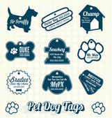 Vector Set: Pet Dog Name Tags and Labels — Stock Vector