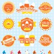 Vector Set: Candy Corn Labels and Icons — Stock Vector