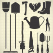 Vector Set: Garden Tool Silhouettes — Stock Vector