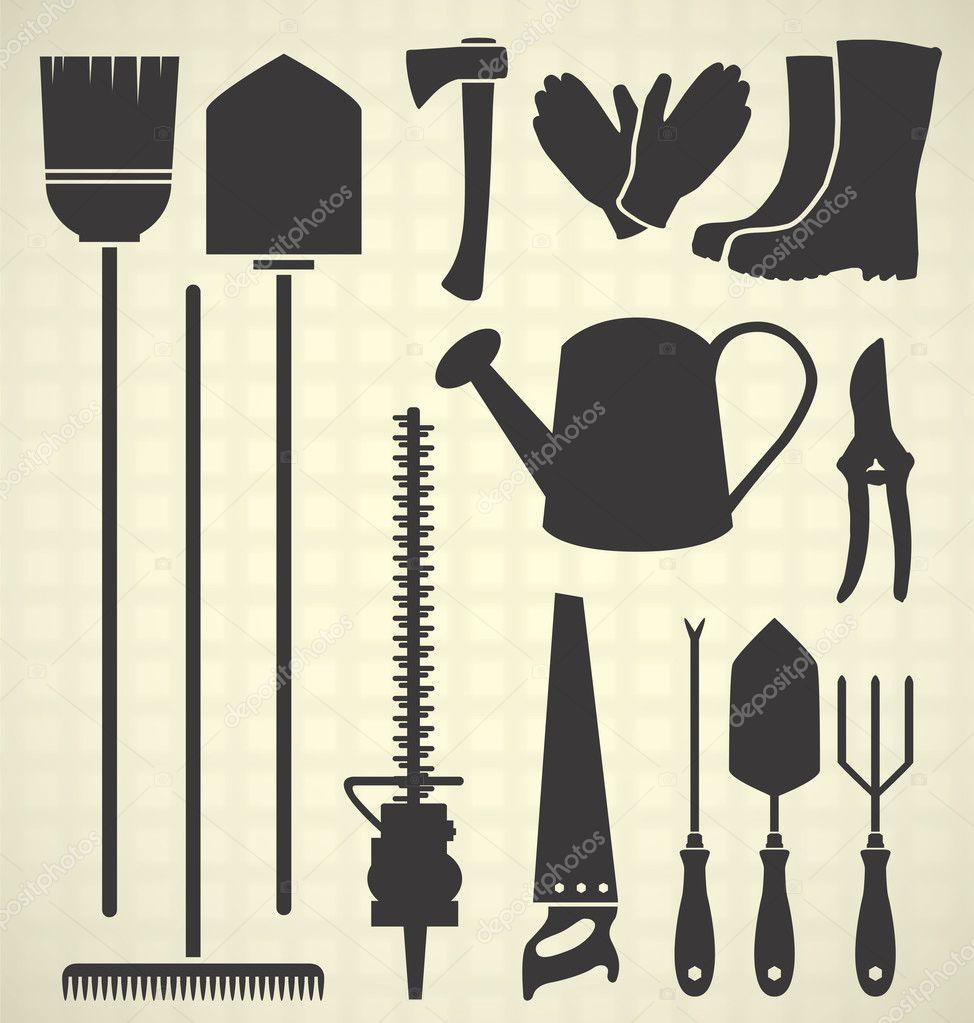 Vector set garden tool silhouettes stock vector for Gardening tools vector