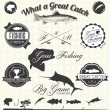 Stock Vector: Vector Set: Retro Gone Fishing Labels and Icons