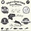 Vector Set: Retro Gone Fishing Labels and Icons — ストックベクタ