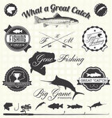 Vector Set: Retro Gone Fishing Labels and Icons — Stock Vector