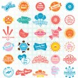 Stock Vector: Vector Set: Retro Candy and Sweets Labels and Icons