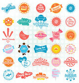 Vector Set: Retro Candy and Sweets Labels and Icons — Stock Vector