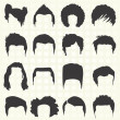 Vector Set: Men's Hairstyle Silhouettes — Stock Vector #26503611