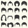 Stock Vector: Vector Set: Men's Hairstyle Silhouettes