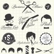 Stock Vector: Vector Set: Retro Barber Shop Labels and Icons