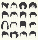Vector Set: Men's Hairstyle Silhouettes — Stock Vector