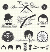 Vector Set: Retro Barber Shop Labels and Icons — Stock vektor