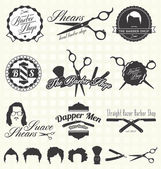 Vector Set: Retro Barber Shop Labels and Icons — Vector de stock