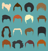 Vector Set: Men's Hairstyle Silhouettes in Color — Stock Vector
