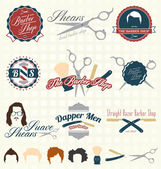 Vector Set: The Barbershop Labels and Icons — Stock Vector