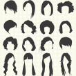 Vector Set: Woman's Hairstyle Silhouettes — Διανυσματικό Αρχείο #26593993