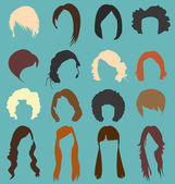 Vector Set: Woman's Hairstyle Silhouettes — Stock Vector