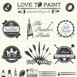 Vector Set: Retro Painter Labels and Icons — Stock Vector