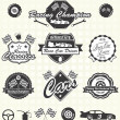 Stock Vector: Vector Set: Retro Style Race Car Champion Labels and Icons