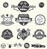 Vector Set: Retro Style Race Car Champion Labels and Icons — Stock Vector
