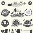 Vector Set: Retro Gardening Labels and Icons — Vettoriale Stock